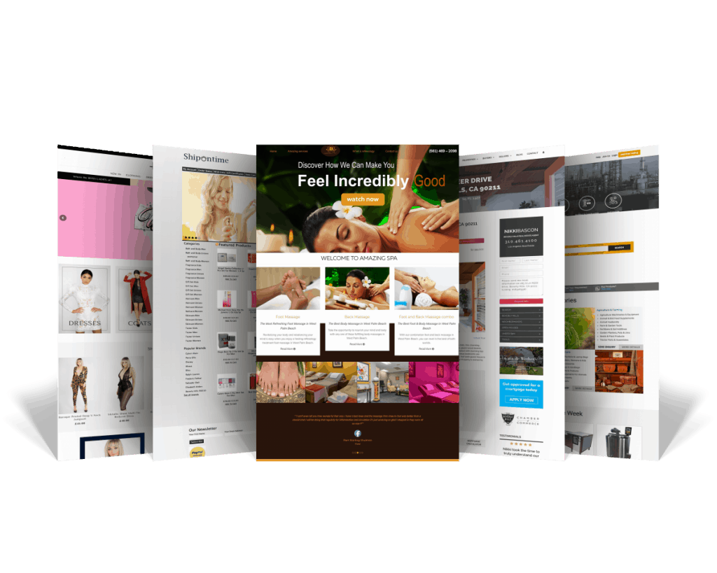small five page website mockup